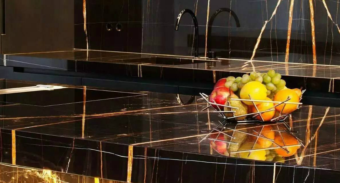 DL-20630 Lauren Black Gold Quartz Slab Counter Top
