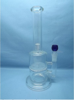 QYF2247-Best selling Pyrex glass bongs with honeycomb perc