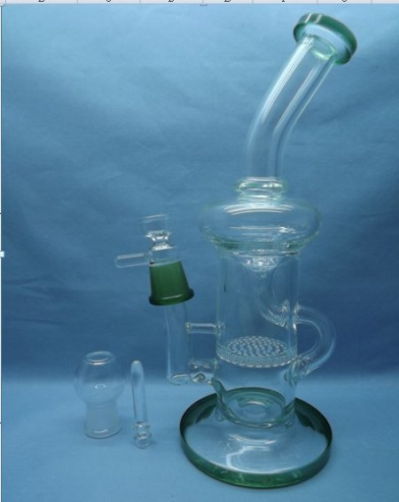 QYF2312-Pyrex Glass Bongs with Water Recycler